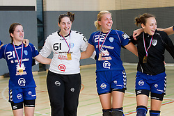 Alja Jankovic, Neja Soberl, Sanja Gregorc and Iris Guberinic of Krim celebrate after the last game of 1st A Slovenian Women Handball League season 2011/12 between ZRK Krka and RK Krim Mercator, on May 8, 2012 in Stopice at Novo mesto, Slovenia. RK Krim Mercator became Slovenian National Champion, GEN-I Zagorje placed second and ZRK Krka placed third. (Photo by Vid Ponikvar / Sportida.com)