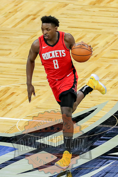 ORLANDO, FL - APRIL 18: Jae'Sean Tate #8 of the Houston Rockets dribbles the ball up the court against the Orlando Magic during the second half at Amway Center on April 18, 2021 in Orlando, Florida. NOTE TO USER: User expressly acknowledges and agrees that, by downloading and or using this photograph, User is consenting to the terms and conditions of the Getty Images License Agreement. (Photo by Alex Menendez/Getty Images)*** Local Caption *** Jae'Sean Tate