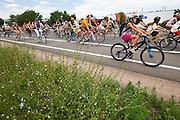 A group of all ages rides bicycles from downtown Boulder, Colorado to the nearby coal-fired Valmont Power Plant to protest its continued operation. The activists planted sunflowers and erected signs on vacant land outside the entrance to the station.