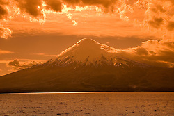 Chile, Lake Country: View of Osorno Volcano while riding across Lake Todos Los Santos..Photo #: ch634-33968..Photo copyright Lee Foster www.fostertravel.com, lee@fostertravel.com, 510-549-2202.