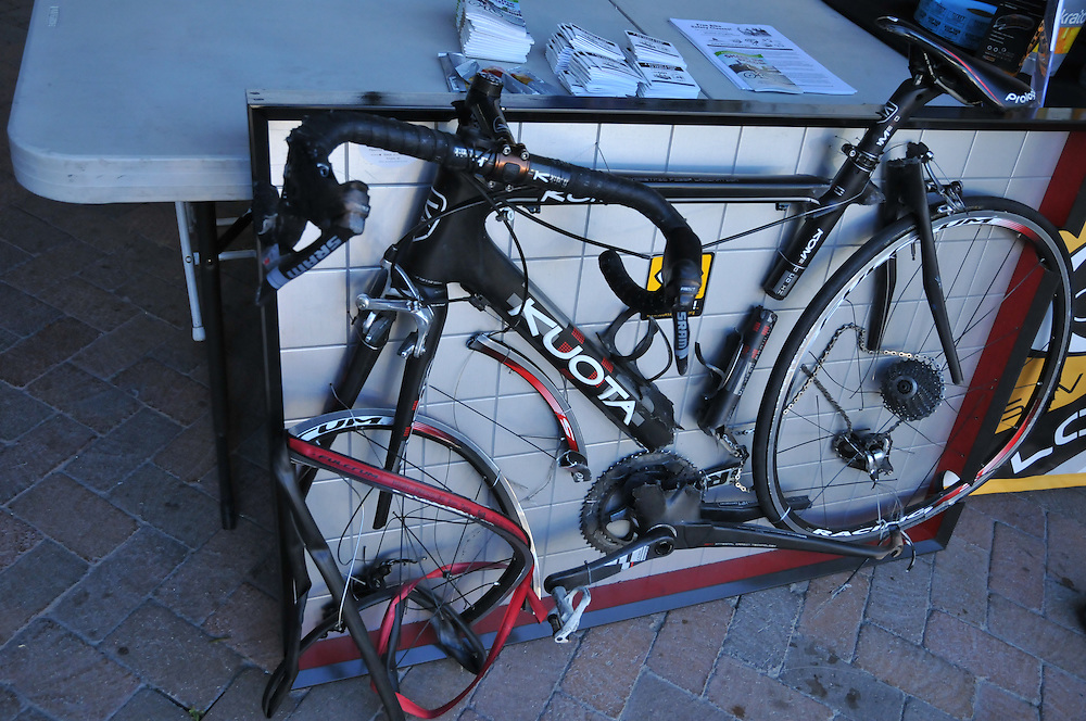 Brendan Lyons' destroyed bike gets a second life as a prop showing the destructiveness of car-bike collisions. Lyons has become an outspoken advocate for cyclist safety