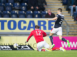 Brechin City's Robert Thomson gets a yellow card after dives after this tackle by Falkirk's Kieran Duffie. <br /> Falkirk 2 v 1 Brechin City, Scottish Cup fifth round game played today at The Falkirk Stadium.