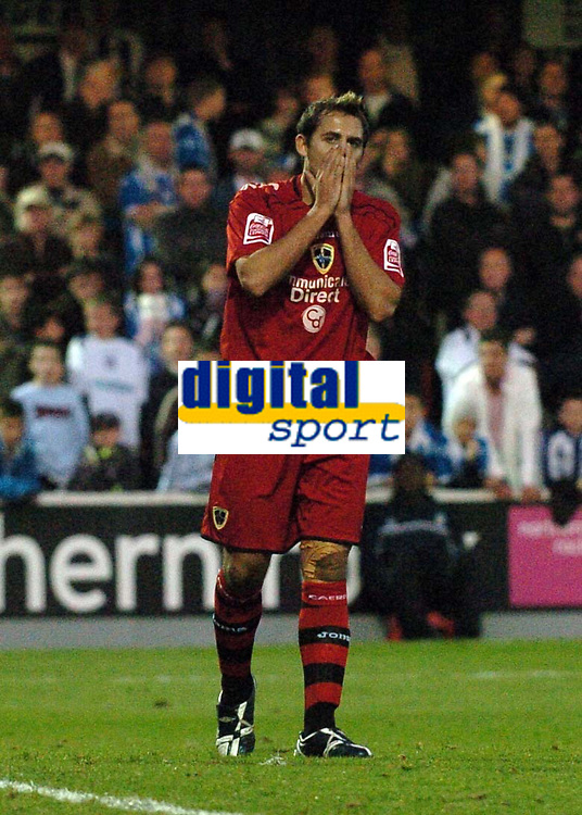 Photo: Ashley Pickering.<br /> Norwich City v Cardiff City. Coca Cola Championship. 21/10/2006.<br /> michael chopra shows his dissapointment at a wasted chance