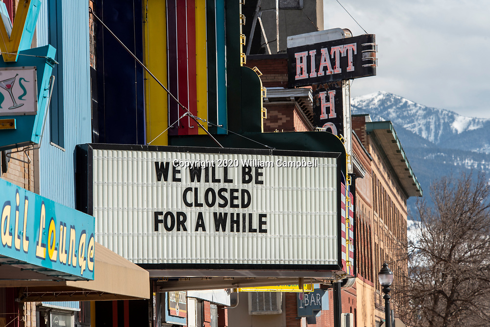 Livingston,MT-March 20,2020: A usually busy Main Street in Livingston , Montana afternoon Governor Steve Bullock order the closing of restaurants, bars, and theaters on March 20,2020 in response to the coronavirus pandemic.