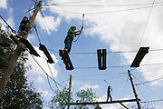 High-wire activity test for young children at YHA Edale.