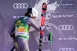 March 9, 2019 - Kranjska Gora, Kranjska Gora, Slovenia - Rasmus Windingstad of Norway celebrating his second place at the Audi FIS Ski World Cup Vitranc on March 8, 2019 in Kranjska Gora, Slovenia. (Credit Image: © Rok Rakun/Pacific Press via ZUMA Wire)