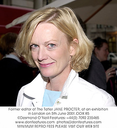 Former editor of The Tatler JANE PROCTER, at an exhibition in London on 5th June 2001.OOX 85