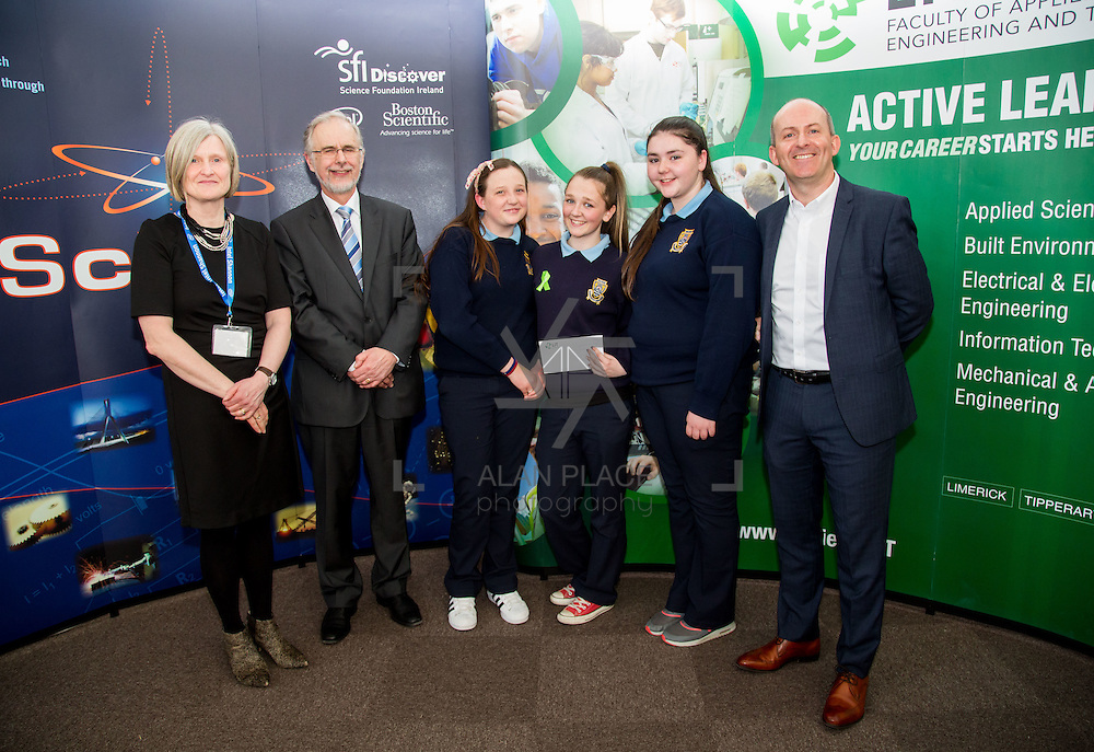 27.04.2016.          <br />  Kalin Foy and Ciara Coyle win SciFest@LIT<br /> Kalin Foy and Ciara Coyle from Colaiste Chiarain Croom to represent Limerick at Ireland's largest science competition.<br /> <br /> St Joseph's Community College students, Niamh Taylor, Ailís McMahon and Sarah Naughton's project, Does your face know what has hit it?, was highly commended in the Life Sciences Category.  Niamh Taylor, Ailís McMahon and Sarah Naughton are pictured with George Porter, SciFest and Brian Aherne, Intel.<br /> <br /> Of the over 110 projects exhibited at SciFest@LIT 2016, the top prize on the day went to Kalin Foy and Ciara Coyle from Colaiste Chiarain Croom for their project, 'To design and manufacture wireless trailer lights'. The runner-up prize went to a team from John the Baptist Community School, Hospital with their project on 'Educating the Youth of Ireland about Farm Safety'. Picture: Fusionshooters
