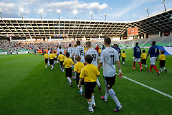 Players coming to the court during the UEFA European Under-17 Championship Group A match between Germany and France on May 10, 2012 in SRC Stozice, Ljubljana, Slovenia. (Photo by Vid Ponikvar / Sportida.com)