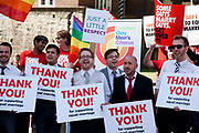 London Gay Chorus sings outside the House of Lords ahead of the third and final reading of the 'Marriage Bill 2012-13 to 2013-14'. A Bill to make provision for the marriage of same sex couples in England and Wales, about gender change by married persons and civil partners, about consular functions in relation to marriage, for the marriage of armed forces personnel overseas, and for connected purposes.
