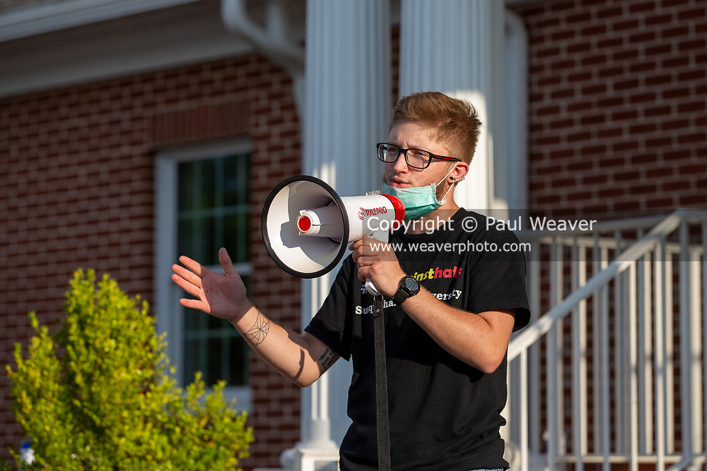 Selinsgrove Borough council member Christopher Kacich speaks at a Black Lives Matter rally  at Sharon Lutheran Church. Central PA Protests and 'If Not Us, Then Who?' organized the event to demand police reform and  to honor the lives lost to police violence.