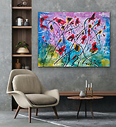 """'Winter Poppies' No. 27 in the Revival Series . 30"""" x 40"""" . Acrylic on Canvas . 2020<br /> <br /> Inspired by a long very dark Pandemic winter."""