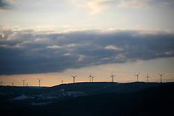 CZECH REPUBLIC PRUNEROV 22MAR10 - Wind generators in the landscape in the coal mining region of Chomutov, northern Bohemia. ..jre/Photo by Jiri Rezac / GREENPEACE