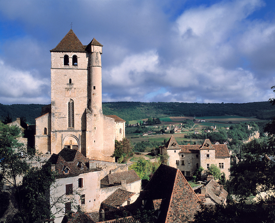 The medieval village of St. Cirq lapopie sits above the Lot River Valley in France.