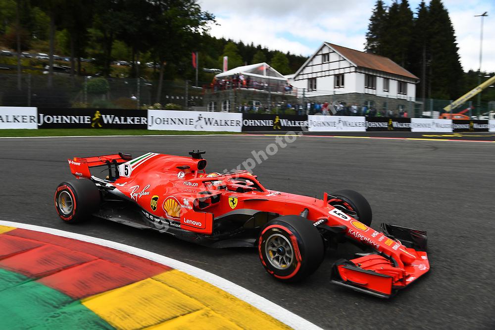 Sebastian Vettel (Ferrari) during practice for the 2018 Belgian Grand Prix at Spa-Francorchamps. Photo: Grand Prix Photo
