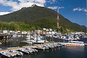 Small boats at dock in Ketchikan Alaska