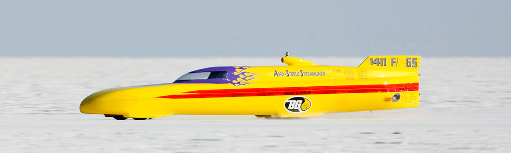 Best-cars-people-atmosphere-photos of 2009 Bonneville Speed Week-  The Amo-Steele Streamliner driven by Robert Steele of Aurora, CO. makes a run at the Bonneville Speed Way. August 11, 2009.  Photo by Colin E. Braley