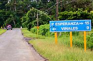 Road sign to Vinales, Pinar del Rio, Cuba.