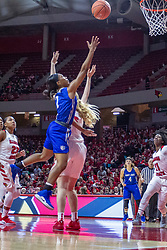 NORMAL, IL - December 20: Ciaja Harrison takes a layup while defended by Lexy Koudelka during a college women's basketball game between the ISU Redbirds and the St. Louis Billikens on December 20 2018 at Redbird Arena in Normal, IL. (Photo by Alan Look)