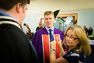 British Astronaut Tim Peake prepares to receive an Honorary Doctorate of Science Degree from the University of Portsmouth at the Guildhall in the city.<br /> Earlier, Tim spent the day at the UK Space Agency Schools Conference hosted by the University.<br /> The conference celebrated the work of over a million UK school students inspired by Peake's Principia mission, which saw the flight dynamics and evaluation graduate spend more than six months on board the International Space Station.<br /> Youngsters had the chance to present their work through talks and exhibitions to experts from the UK Space Agency, European Space Agency (ESA), partner organisations and the space sector. Most also had the chance to meet Tim.<br /> Picture date Wednesday 2nd November, 2016.<br /> Picture by Christopher Ison for the University of Portsmouth.<br /> Contact +447544 044177 <br /> chris@christopherison.com<br /> www.christopherison.com