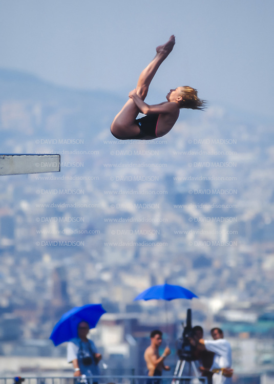 BARCELONA - JULY 27:  Inga Afonina of the Unified Team competes in the Women's 10 meter Diving final at the Piscina Municipal de Montjuic on July 27, 1992 during the Summer Olympics in Barcelona, Spain.  (Photo by David Madison/Getty Images)