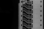 Stairs on the side of an apartment building in Shinjuku, Tokyo, Japan May 31st 2013
