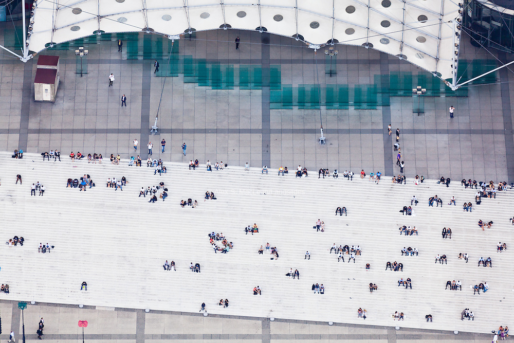 """La Grand Arche de la Defense. The """"cloud"""" is a structure made of white plastic panels that resembles a tent and helps with wind resistance on the structure."""