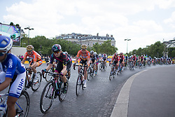 Katarzyna Pawlowska (POL) of Boels-Dolmans Cycling Team rides around the Arc de Triomphe during the La Course, a 89 km road race in Paris on July 24, 2016 in France.