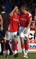 Photo: Ashley Pickering.<br /> Colchester United v Charlton Athletic. Coca Cola Championship. 15/09/2007.<br /> Zheng Zhi of Charlton (no. 5) celebrates scoring the equaliser with team mate Darren Ambrose