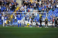 Birmingham City's Jesse Lingard (No9.) scores his 4th goal during the Skybet championship match, Birmingham city v Sheffield Wednesday at St.Andrews in Birmingham, England on Sat 21st Sept 2013. pic by Jeff Thomas/Andrew Orchard sports photography