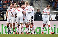 0:2 Jubel v.l. Dominique Heintz, Yannick Gerhardt, Kevin Vogt, Torschuetze Leonardo Bittencourt, Jonas Hector (Koeln)<br /> Hannover, 12.03.2016, Fussball Bundesliga, Hannover 96 - 1. FC Köln<br /> Norway only