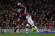 Defender Ethan Ampadu Of Leipzig heads the ball during the UEFA Champions League match between Tottenham Hotspur and RB Leipzig, at The Tottenham Hotspur Stadium, Thursday, Feb. 20 2020,  in  London, United Kingdom. (Mitchell Gunn/Image of Sport)