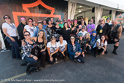 Group photo before the start of the Harley Davidson Women's Angels Ride to benefit the Nature Conservancy during the annual Sturgis Black Hills Motorcycle Rally.  SD, USA.  August 12, 2016.  Photography ©2016 Michael Lichter.