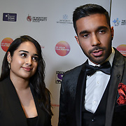Rishi Nair and Natali Servat is an actor attends the UK Asian Film Festival closing flame awards gala - Red Carpet at BAFTA 195 Piccadilly, on 7 April 2019, London, UK