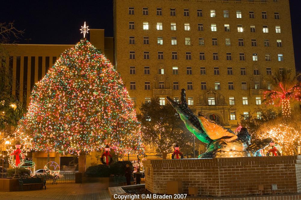 Christmas lights at San Jacinto Plaza, the heart of downtown, El Paso, Texas