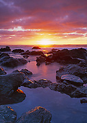 Sunset at Low Tide,Westport-Union Landing State Beach,Mendocino County, California