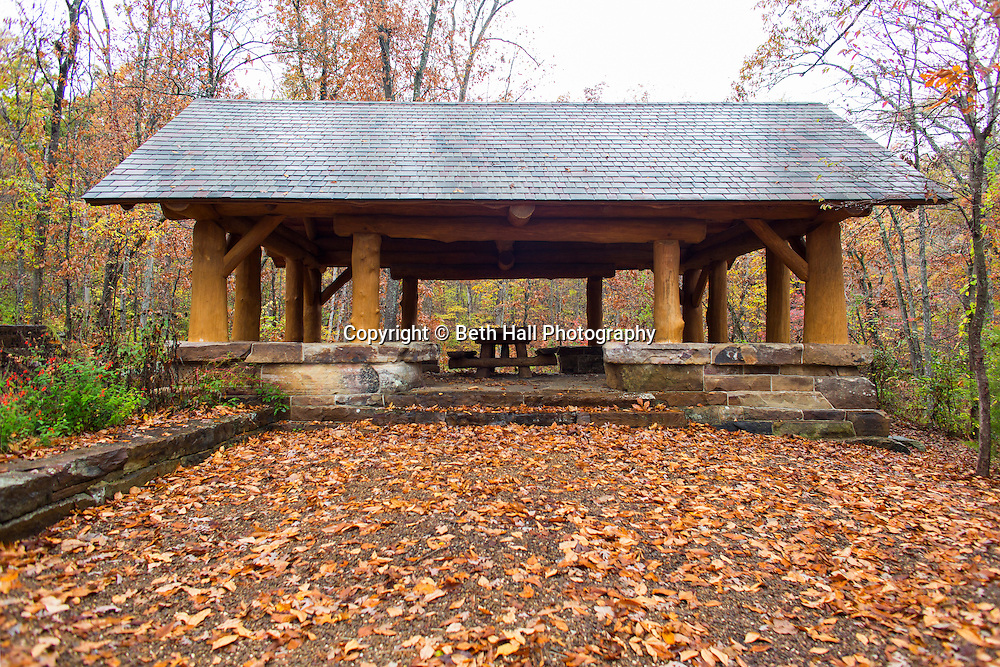 A pavilion built by Robert Runyon stands in the Mount Sequoyah Woods in Fayetteville, Arkansas, for Out Here Magazine. Photo by Beth Hall