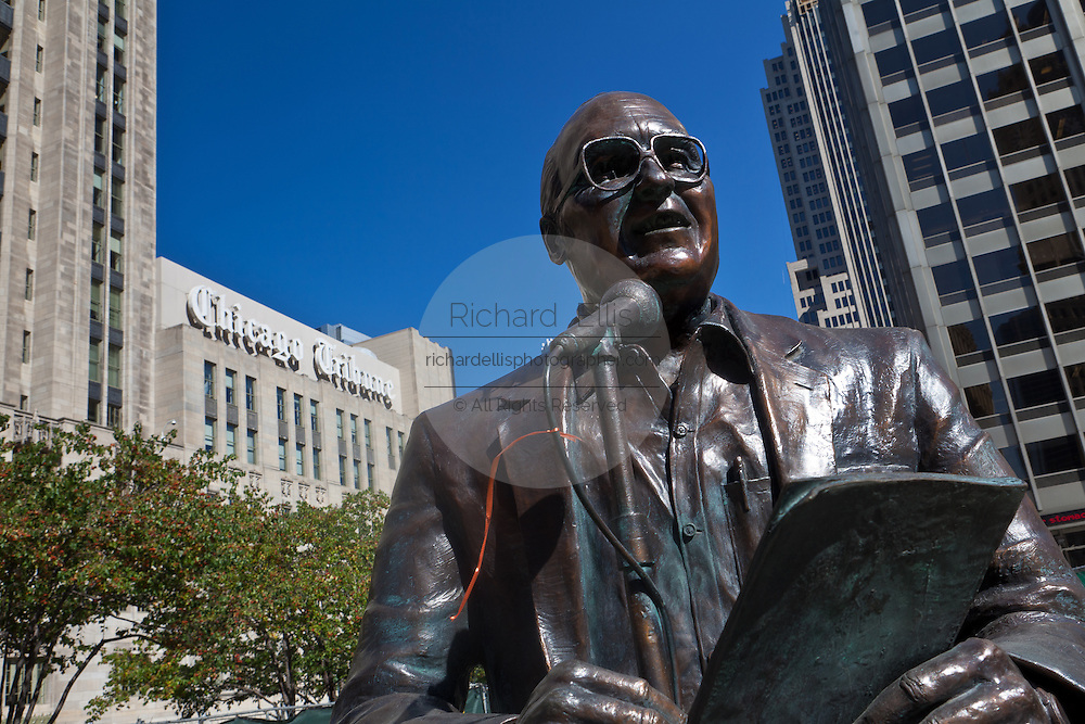 Statue of legendary Chicago broadcaster Jack Brickhouse in Pioneer Court along Michigan Ave Bridge in Chicago, IL, USA.