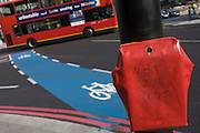 New road layouts with still to open pedestrian crossings at the busy road junction at Elephant & Castle in the south London borough of Lambeth.