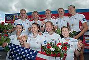 Amsterdam. NETHERLANDS.   USA W8+. Bow Victoria OPITZ, Meghan MUSNICKI, Amanda POLK, Lauren SCHMETTERLING, Grace LUCZAK, Caroline LIND, Eleanor LOGAN Heidi ROBBINS and cox Katelin SNYDER. Gold medalist Women's Eight. .  De Bosbaan Rowing Course, venue for the 2014 FISA  World Rowing. Championships. 14:19:56  Sunday  31/08/2014.  [Mandatory Credit; Peter Spurrier/Intersport-images]