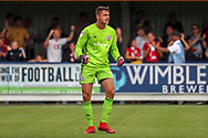 Accrington Stanley goalkeeper Dimitar Evtimov (1) celebrating after goal during the EFL Sky Bet League 1 match between AFC Wimbledon and Accrington Stanley at the Cherry Red Records Stadium, Kingston, England on 17 August 2019.