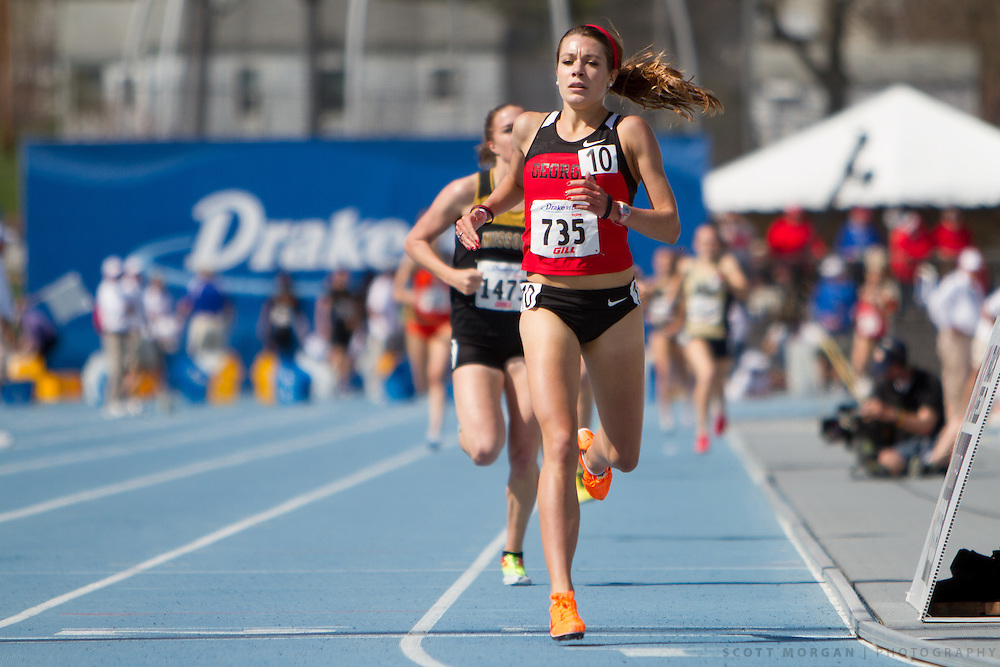 Georgia's Carly Hamilton crosses the finish line, winning the 1500-meter run, Saturday, April 27, 2013, during the Drake Relays in Des Moines..Photo by Scott Morgan 2013