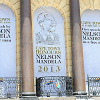 CAPE TOWN, SOUTH AFRICA - Saturday 7 December 2013, the famous balcony where Nelson Mandela address the people for the first time as a free man during a time of national mourning the death of the first democratically elected president, Nelson Mandela, in front of the Cape Town City Hall.<br /> Photo by Roger Sedres/ImageSA