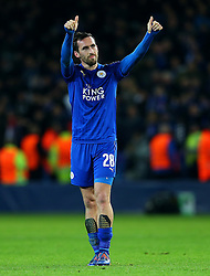Christian Fuchs of Leicester City thanks the fans at full time - Mandatory by-line: Matt McNulty/JMP - 22/11/2016 - FOOTBALL - King Power Stadium - Leicester, England - Leicester City v Club Brugge - UEFA Champions League