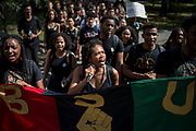 Delmar Fears '19 leads Cornell's chapter of Black Students United to a sit-in at Willard Straight Hall at Cornell University in Ithaca, New York on September 20, 2017.<br /> <br /> Credit: Cameron Pollack / The Cornell Daily Sun