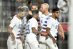 March 21, 2019 - Orlando, FL, U.S. - ORLANDO, FL - MARCH 21: United States forward Gyasi Zardes (9) celebrates with teammates and fans after scoring a goal in game action during an International friendly match between the United States and Ecuador on March 21, 2019 at Orlando City Stadium in Orlando, FL. (Photo by Robin Alam/Icon Sportswire) (Credit Image: © Robin Alam/Icon SMI via ZUMA Press)