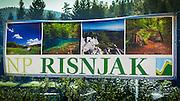 Entrance sign, Risnjak National Park, Croatia