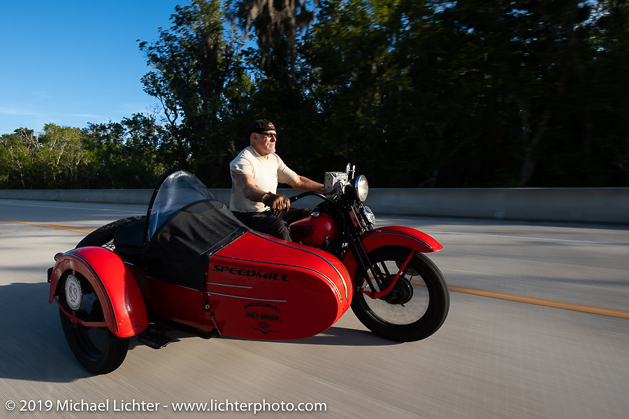 Erik Dunk, known to everyone simply as Dunk, with his 1937 Harley-Davidson EL during the Cross Country Chase motorcycle endurance run from Sault Sainte Marie, MI to Key West, FL. (for vintage bikes from 1930-1948). 287 mile ride of Stage-8 from Tallahassee to Lakeland, FL USA. Friday, September 13, 2019. Photography ©2019 Michael Lichter.