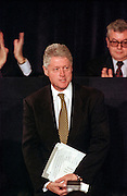 US President Bill Clinton during the opening session of the International Monetary Fund World Bank annual meeting October 6, 1998 in Washington, DC.