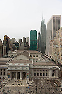New York, elevted view on midtown and New york library on fith avenue